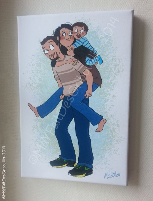 toile photo, illustration, famille
